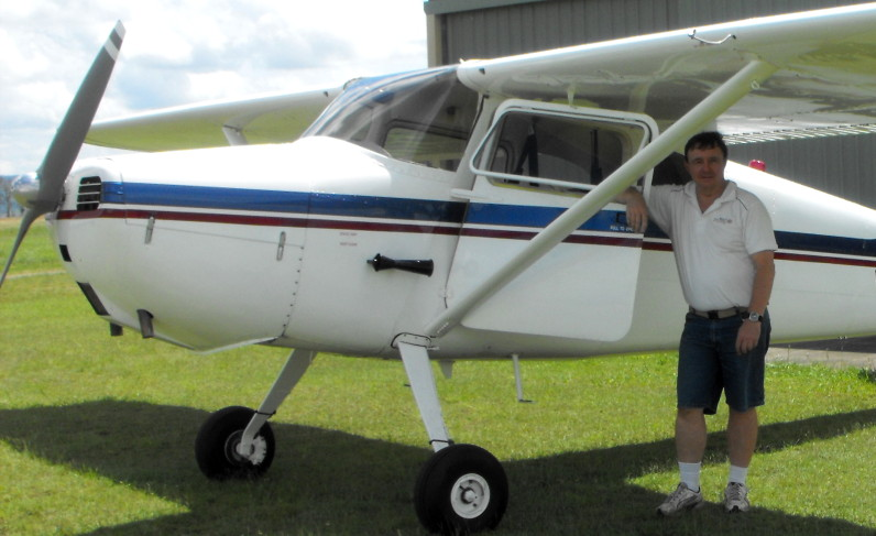Peter Biddle with the Cessna 170A