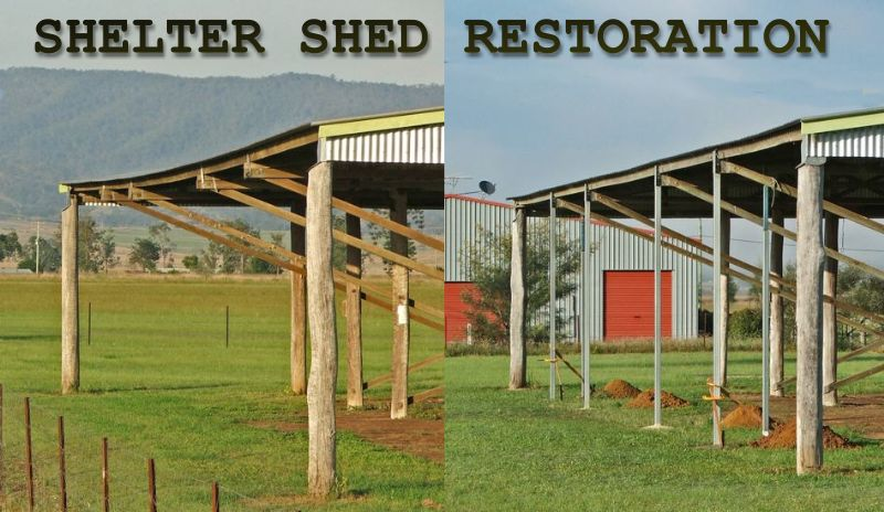 Before and after shots  of the shelter shed roof line